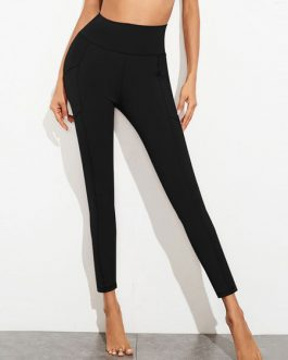 Polyester Raised Waist Skinny Sweatpants Leggings With Pockets