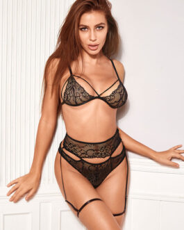 Printed Bra And Panty Polyester Lace Up Embroidered Two Piece Set Sexy Lingerie