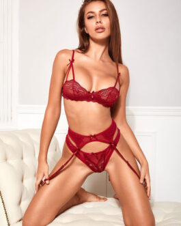 Printed Polyester Bows 2-Piece Set Sexy Lingerie Bras With Panty
