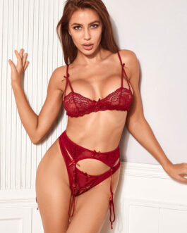 Printed Polyester Bows Two Piece Set Sexy Lingerie Bras With Panty