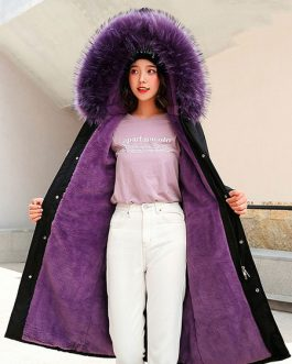 Puffer Fur Hooded Long Sleeves Drawstring Coats