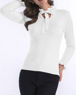 Pullover Designed Neck Long Sleeves Casual Sweaters