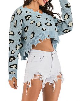 Pullover Leopard Print Off-The-Shoulder Long Sleeves High Low Sweaters
