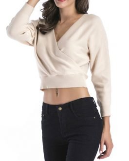 Pullover V-Neck Long Sleeves Layered Crop Wrap Sweaters