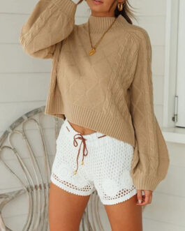 Pullovers High Collar Long Sleeves Crop Top Sweaters