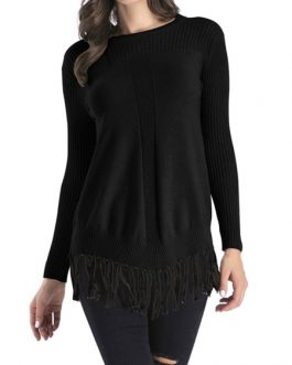 Pullovers Jewel Neck Long Sleeves Sweaters With Tassels