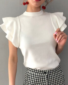 Pullovers Jewel Neck Short Sleeve Ruffles Sweaters