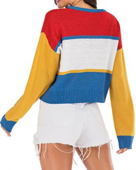 Pullovers Letters Print Jewel Neck Long Sleeves Color Block Acrylic Sweaters