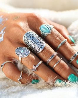 Retro Pattern Mix Finger Midi Ring Sets