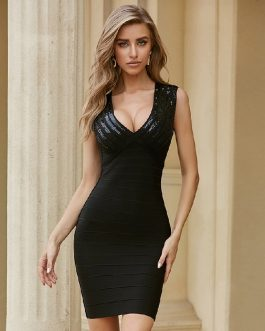Sequined Sexy Sleeveless V Neck Celebrity Party Bandage Dress