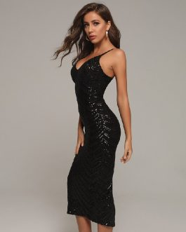 Sequins Fashion Sexy V Neck Club Celebrity Runway Party Dress