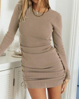 Sexy Bodycon Jewel Neck Long Sleeves Drawstring Short Sheath Dress