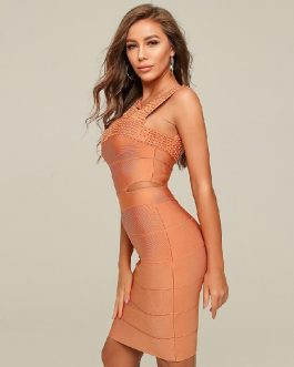 Sexy Hollow out Beading Club Party Mini Bodycon Dress