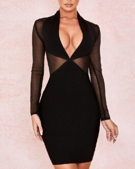 Sexy Long Sleeve Mesh Evening Party Bodycon Bandage Dress
