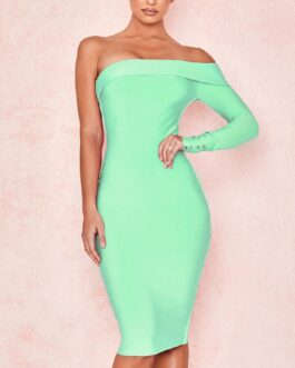 Sexy One Shoulder Button Bodycon Party Dresses Vestidos