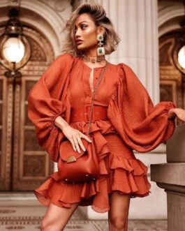 Sexy Sashes Lantern Sleeve Cascading Ruffle Elegant Dress