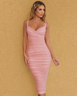 Sexy Spaghetti Strap V Neck Draped Club Party Bandage Dress