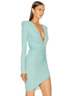 Sexy V Neck Long Sleeve Draped Fashion Club Mini Dress