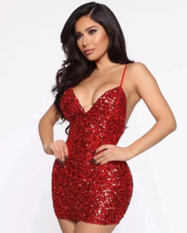 Sexy V-Neck Sequin Bodycon Mini Dress