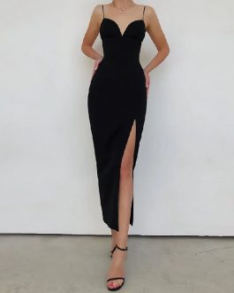 Sexy V Neck Spaghetti Strap Bodycon Runway Party Maxi Dress