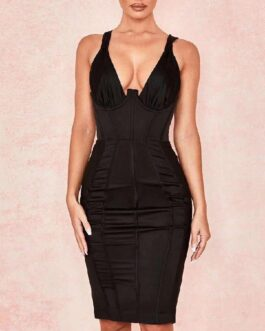 Sexy V-Neck Spaghetti Strap Club Evening Party Dress