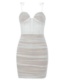 Sexy V Neck Spaghetti Strap Mesh Mini Club Bandage Dress