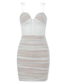 Sexy V Neck Spaghetti Strap Mesh Mini Club Bandage Dress