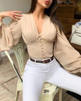 Sexy V-neck Chiffon blouse top