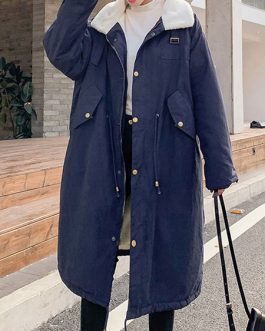 Shearling Turndown Collar Long Sleeves Drawstring Parka Coats