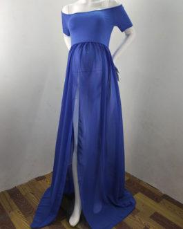 Short Sleeves Bateau Neck Split Front Backless Floor Length Maternity Maxi Dresses