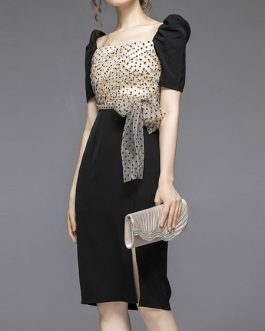 Short Sleeves Square Lace Bodycon Dress