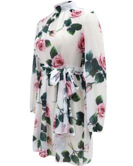 Skater High Collar Long Sleeve Lace Up Printed Short Dress