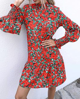 Skater Jewel Neck Long Sleeve Printed Fit And Flare Dress