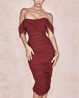 Slash Neck Elegant Off The Shoulder Bodycon Party Dress