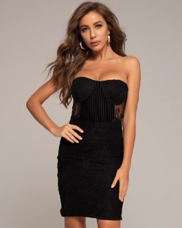 Sleeveless Lace Sexy Strapless Celebrity Club Bandage Dress