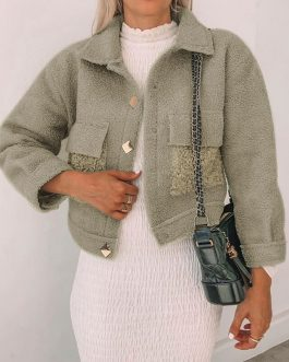 Splicing pocket long sleeve fluffy coats