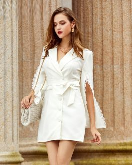 Split sleeves lace lapel mini dress