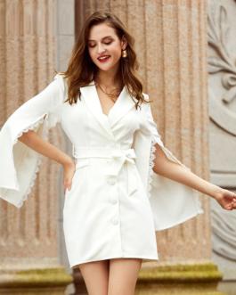 Split sleeves lace lapel mini dress