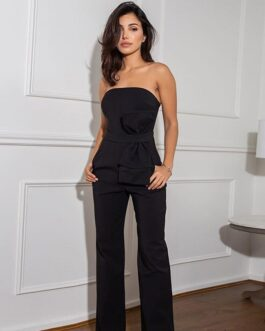 Strapless Stitched Bow Sleeveless Slim Fit Jumpsuit