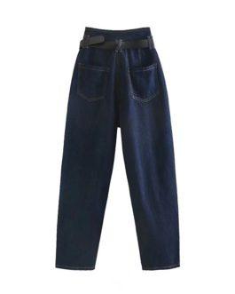 Street wear Zipper Fly Pockets Denim Trousers Loose Long Jeans Pants With Belt