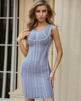 Striped Sexy Sleeveless Tank Mini Celebrity Party Bandage Dress