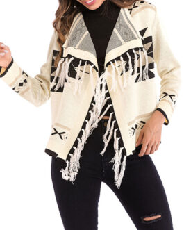 Sweaters Cardigans Turndown Collar Long Sleeve Geometric Short Jackets With Fringe