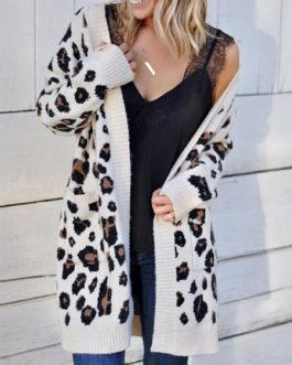 Sweaters V Neck Long Sleeve Leopard Print Cardigans