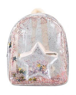 Sweet Lolita Bag Transparent PU Leather Stars Shining Backpack