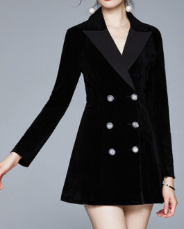Turndown Collar Long Sleeve Double Breasted Blazers