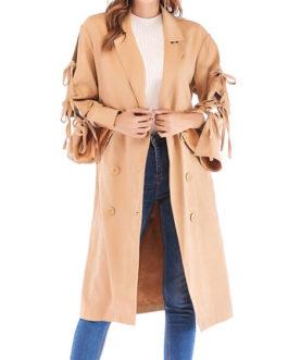Turndown Collar Long Sleeve Lace Up Wrap Coats