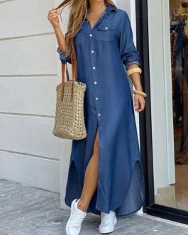 Turndown Collar Long Sleeve Maxi Dress