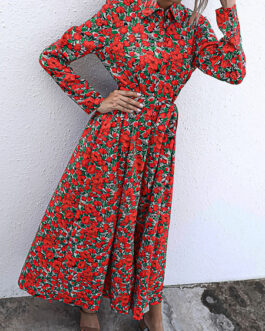 Turndown Collar Long Sleeve Printed Split Shirt Maxi Dress