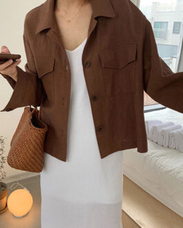 Turndown Collar Long Sleeve Short Jacket With Pockets