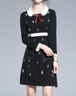 Turndown Collar Long Sleeves Bows Printed Short Dress
